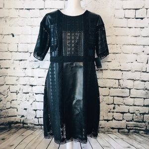 Black Faux Leather Embroidered Dress Size 16